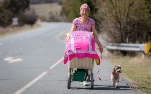 One woman's standard prompts walk for climate change