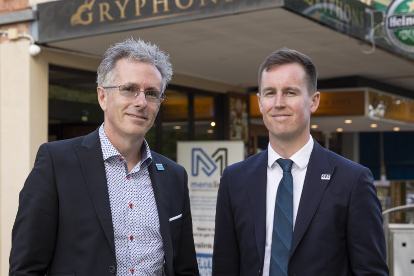 Menslink CEO Martin Fisk and ACT Government minister Chris Steel