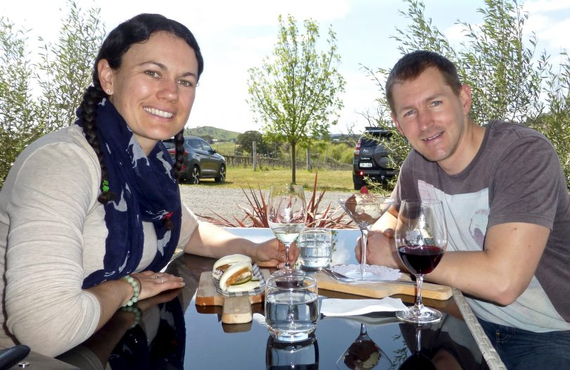 Claire and Leon from Canberra sampling the delights at Dionysus
