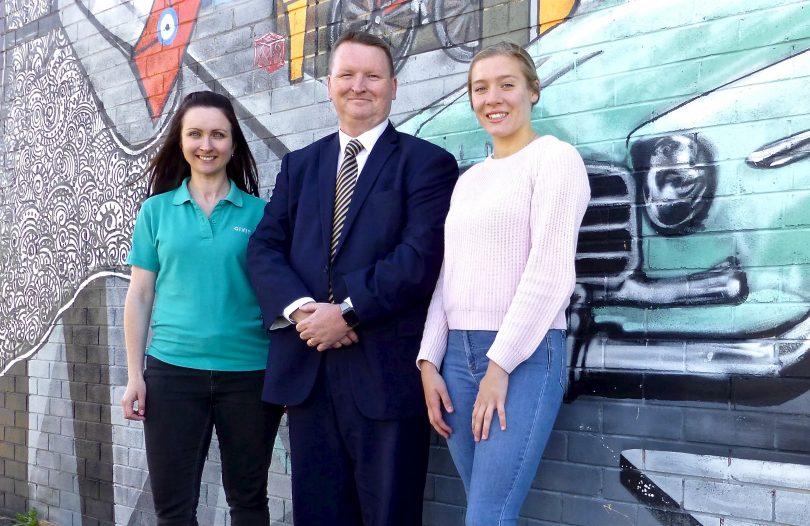 Manager of GIVIT ACT Caroline Odgers, regional manager of the Australian Red Cross Mark Duggan and Maja Rathouski