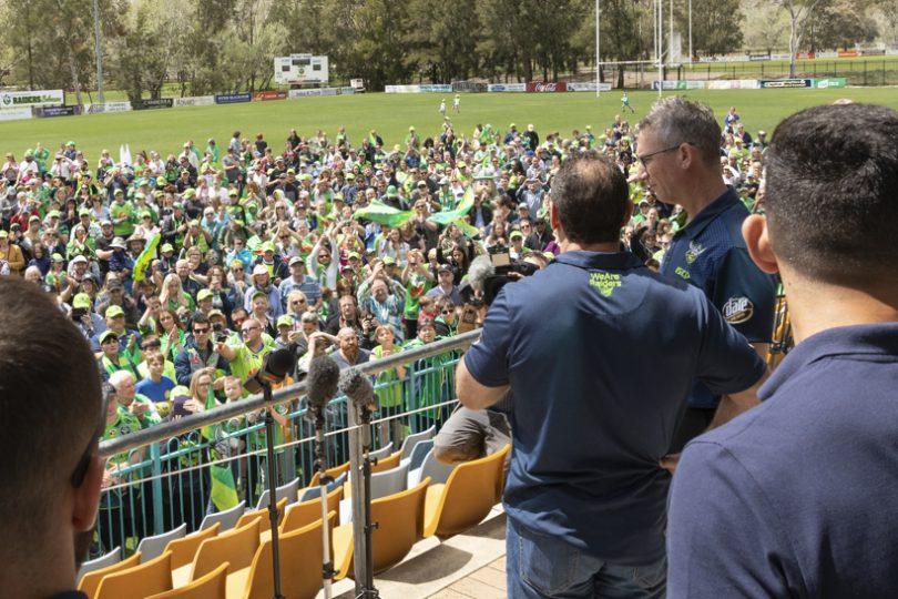 Ricky Stuart addresses the crowd