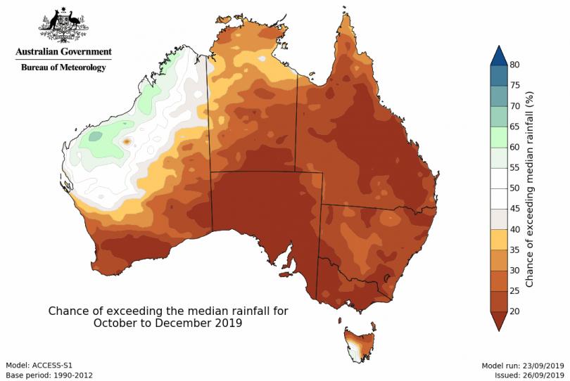 Bureau of Meteorology rainfall forecast.