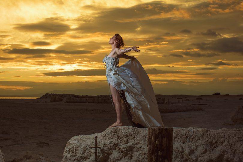 Amanda Palmer on a cliff