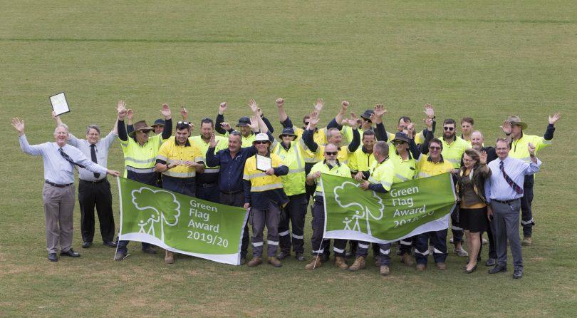 QPRC team celebrating Green Flag Award.