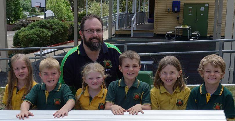 Principal Jason Marshall with students at Captains Flat Public School