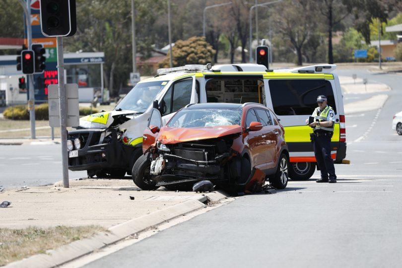 Accident on Drakeford Drive at Kambah