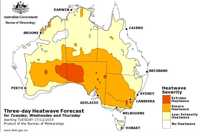 BOM heat forecast