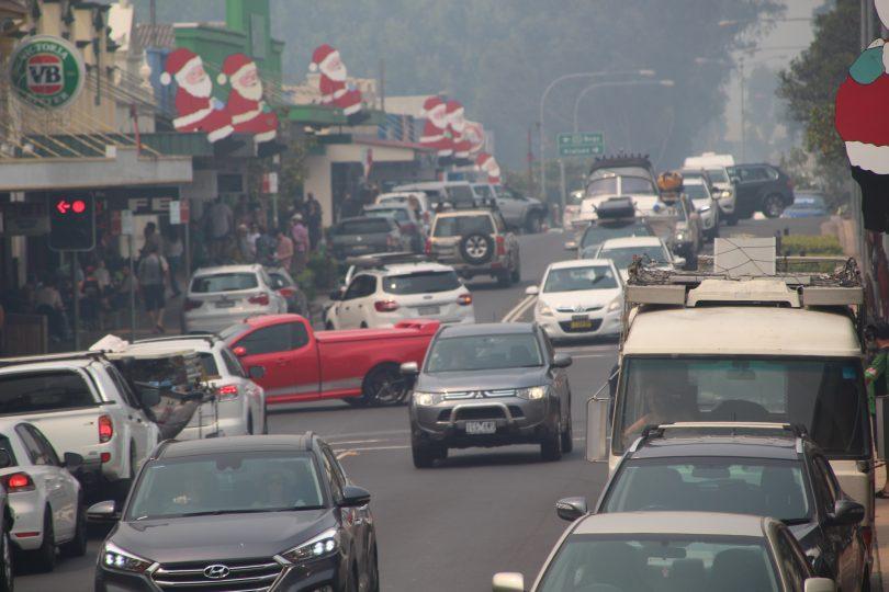 Tourists in the smoke at Moruya