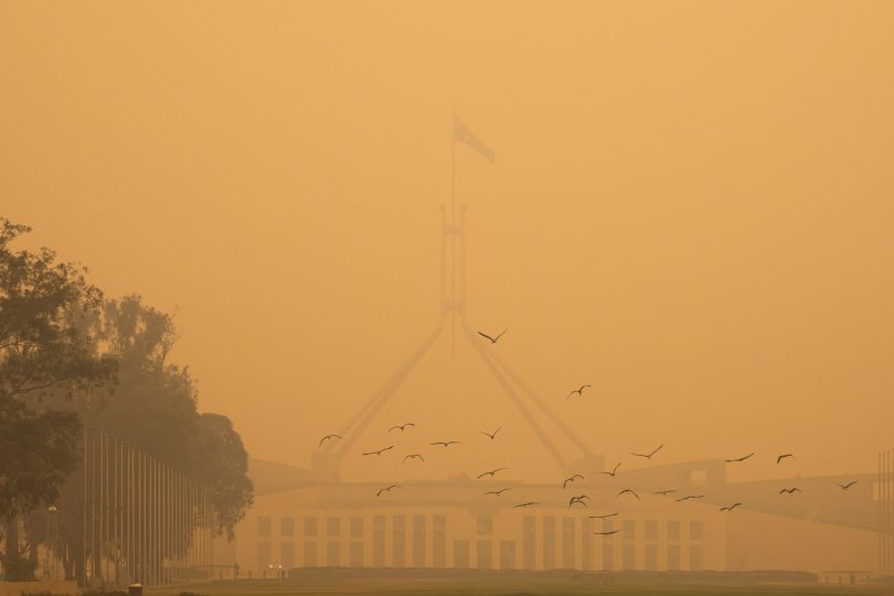 Parliament House during the bushfires