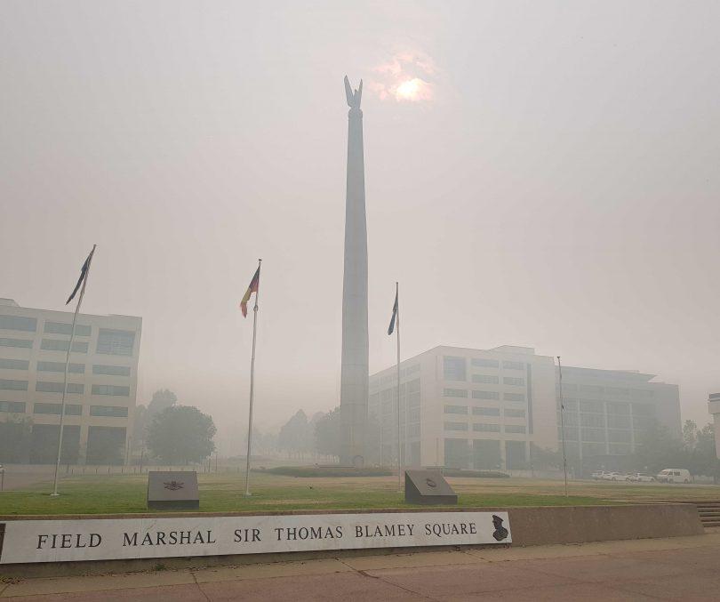Smoke haze in Canberra