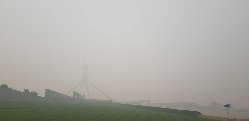 Parliament House in smoke