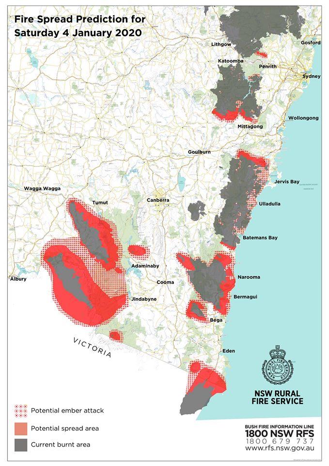 Fire spread prediction for Saturday, 4 January 2020.