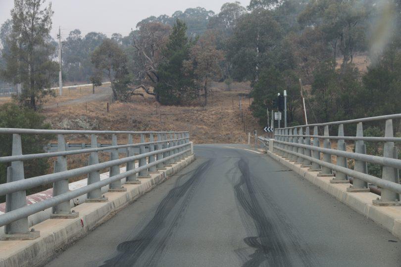 Skid marks on a bridge