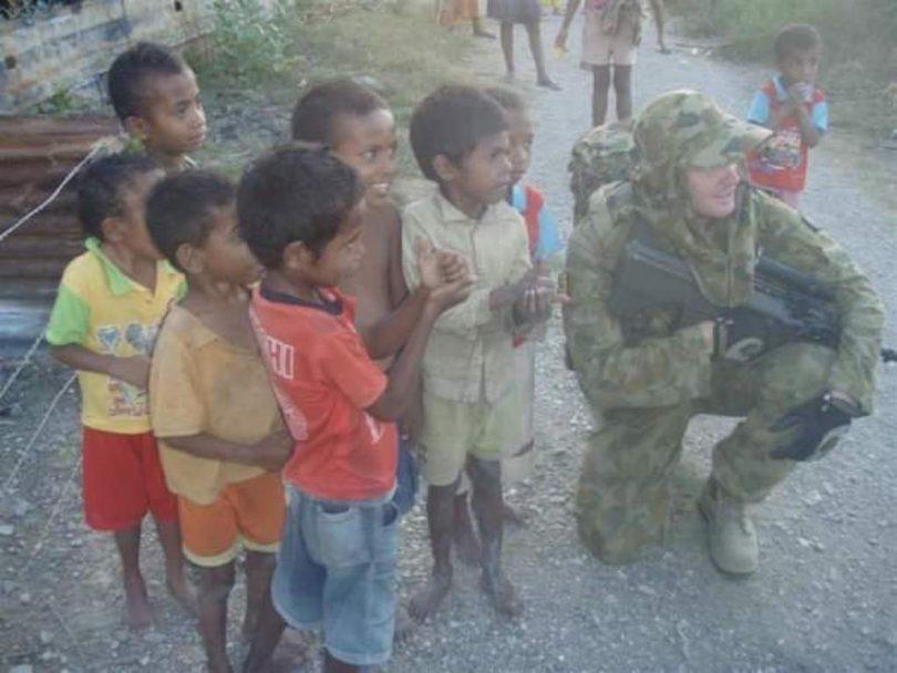 Kris Milne on active duty in East Timor