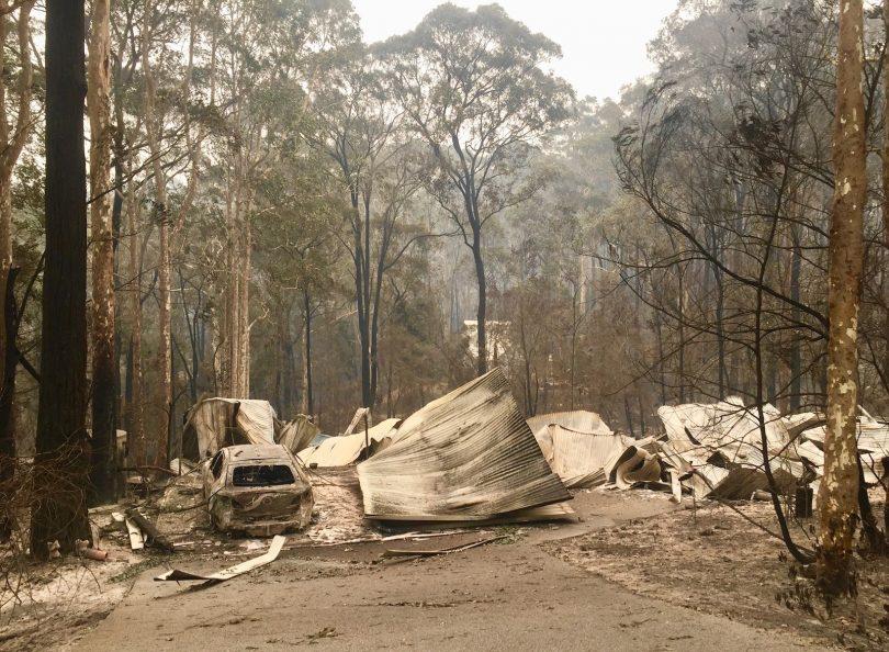 Burnt out bush property from bushfire.