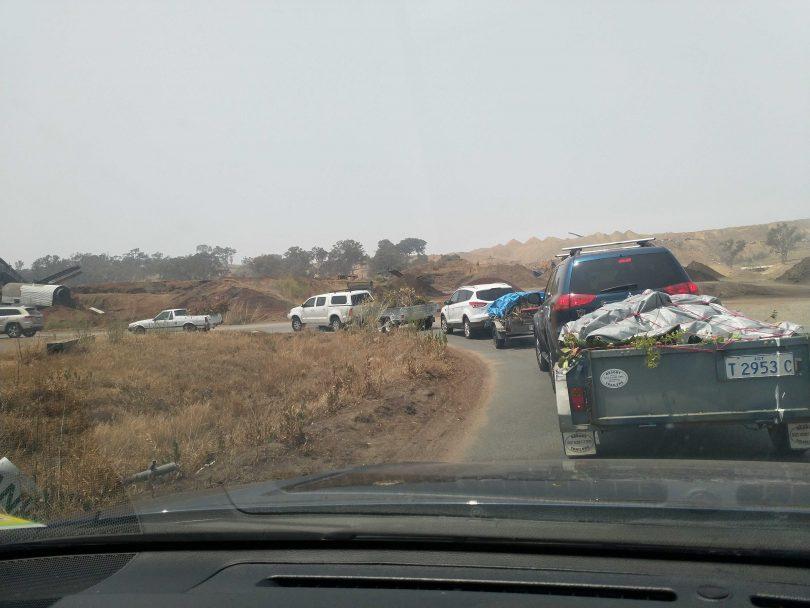 The queue at the Mugga Way tip