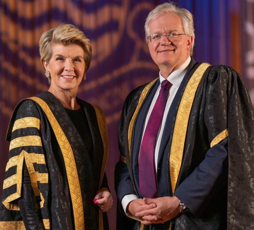 ANU Chancellor Julie Bishop and Vice-Chancellor Professor Brian Schmidt