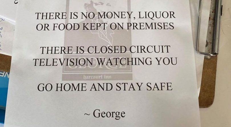 A notice on the George Harcourt food van