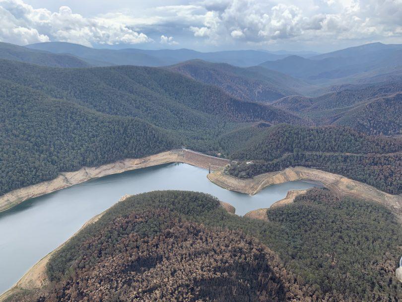 Aerial shot of Corin Dam