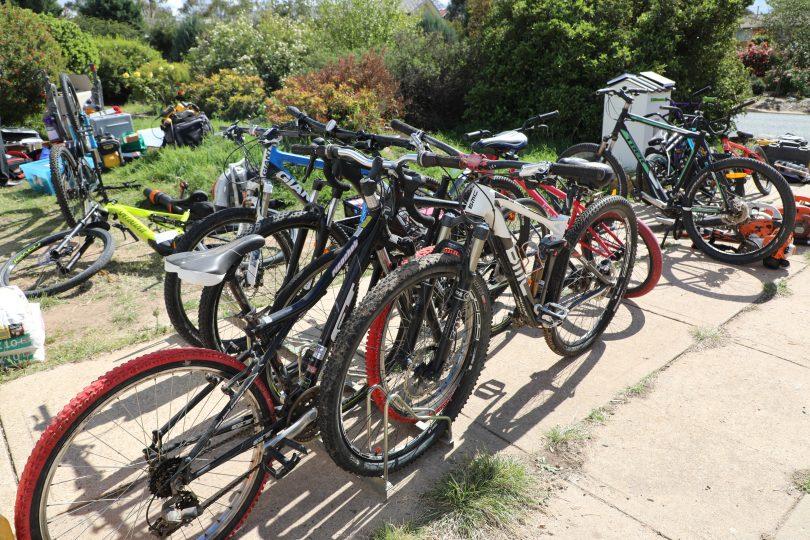 Stolen mountain bikes in front yard of Kambah residence.