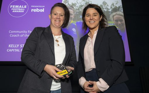 Kelly Stirton named Coach of the Year at the 2020 rebel Female Football Awards