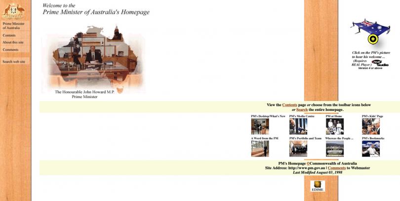 John Howard's website 1998