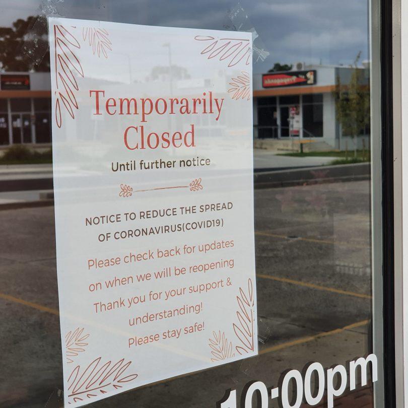 COVID-19 shutdown notice