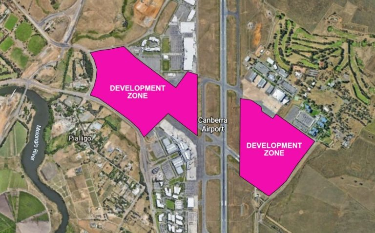 Potential development zones at Canberra Airport