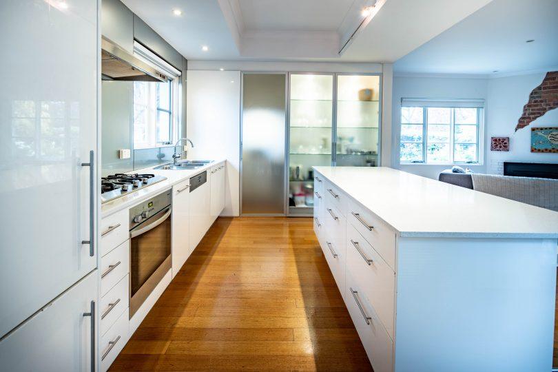 A sleek modern kitchen