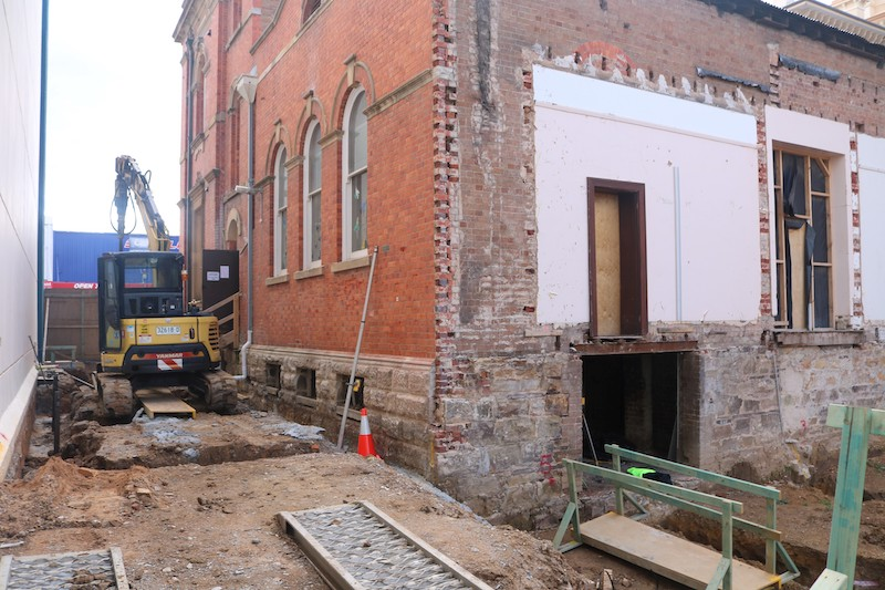 Machinery and exterior of the rear back corner of the Goulburn Town Hall site..