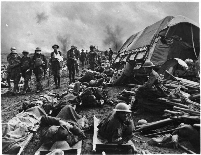 Australian wounded on the Menin Road, near Birr Cross Road 1917