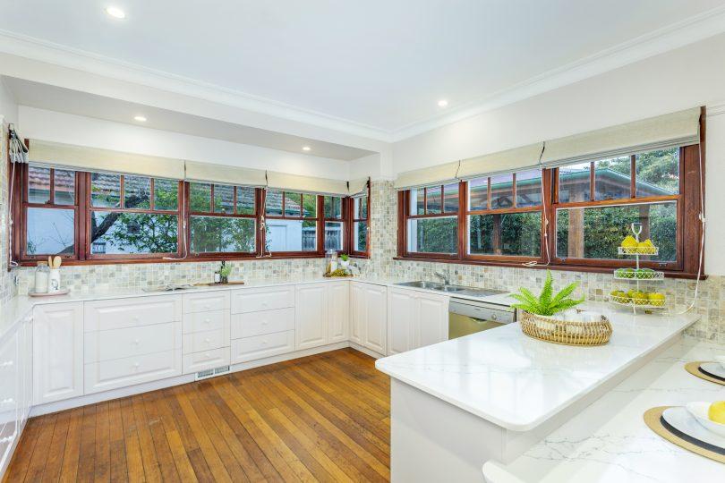 The tastefully updated kitchen