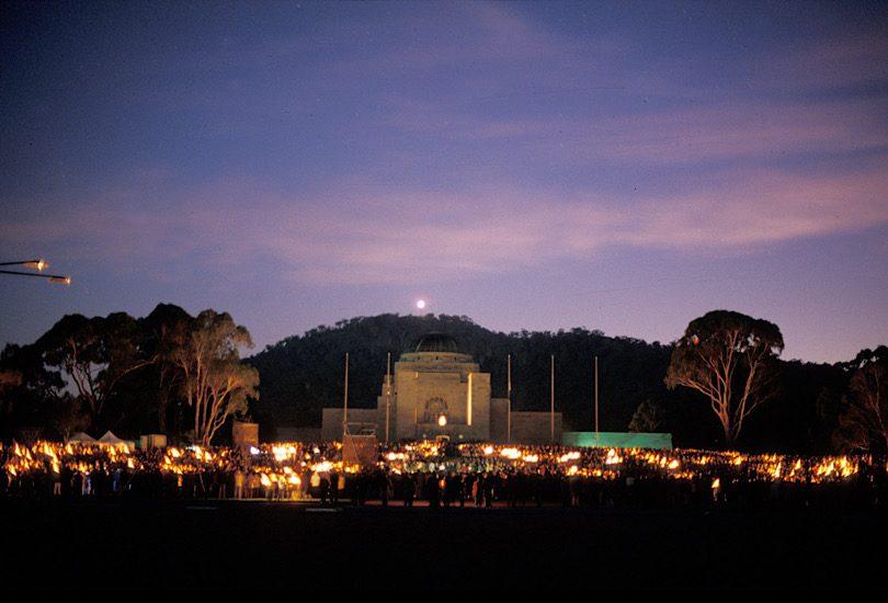Anzac Day dawn service at Australian War Memorial in Canberra.