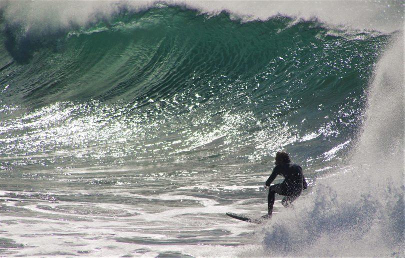 Man surfing in Moruya.