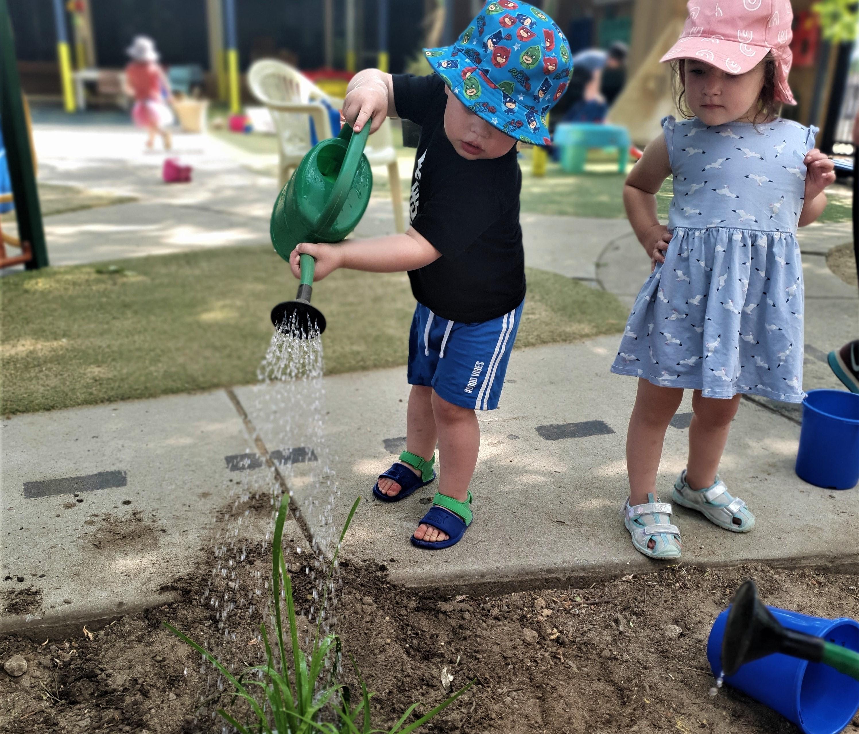 Children watering bush food garden.