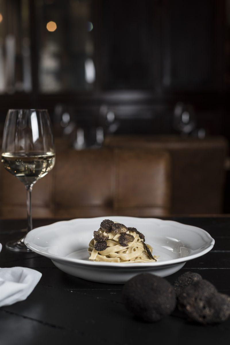 Black truffle Fettucini Cacio e Pepe pasta