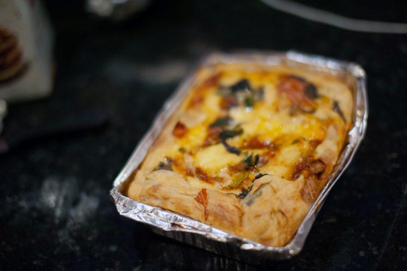 Lentil and mushroom lasagne