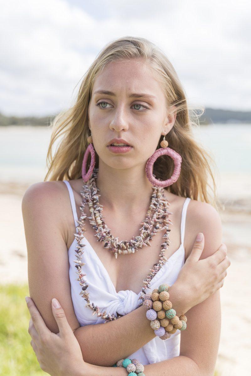 Model wearing jewellery by Krystal Hurst.