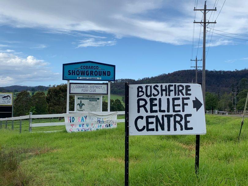 Signs for Cobargo Bushfire Relief Centre and Cobargo Showground