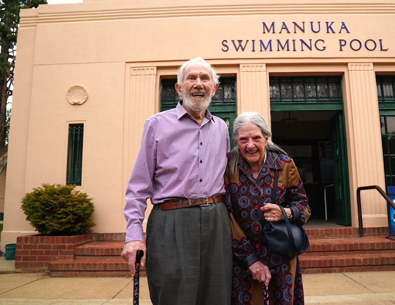 Merv and Beth Knowles at the front of Manuka Pool.