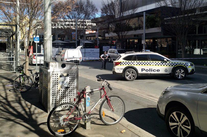 Police guard the scene outside Kokomos in Civic on Sunday morning