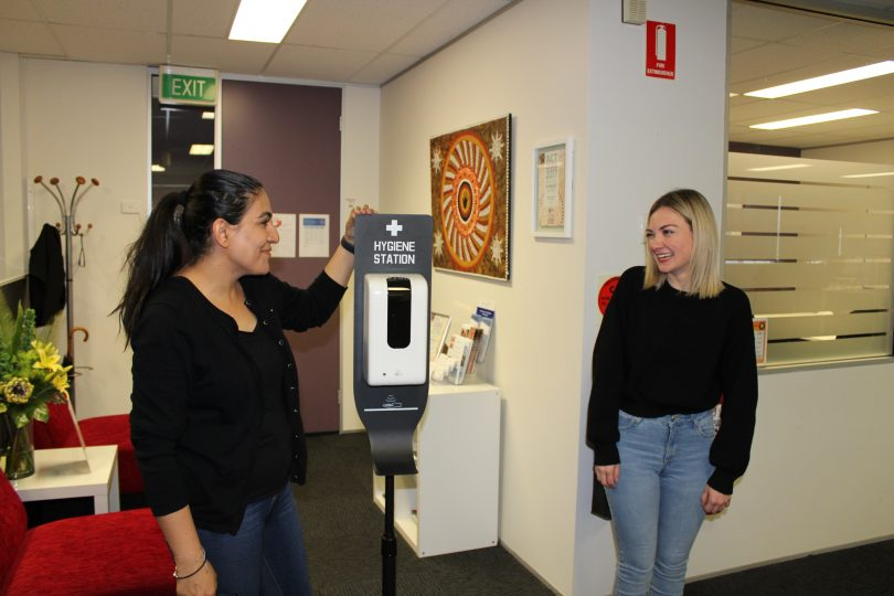 Susan (left) and Clare (right) at Domestic Violence Crisis Service office.