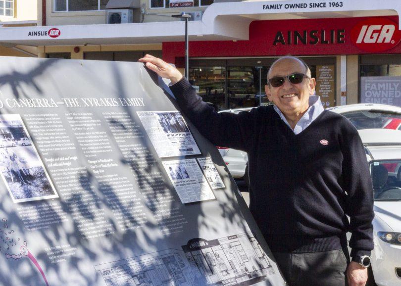 Manuel Xyrakis standing outside Ainslie IGA supermarket.