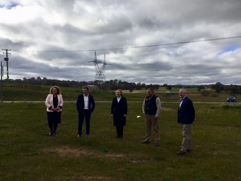 From left: Goulburn MP Wendy Tuckerman, NSW Roads Minister Paul Toole, Yass Valley Mayor Rowena Abbey, truck driver Frank Wicks and Deputy Prime Minister Michael McCormack standing in field.