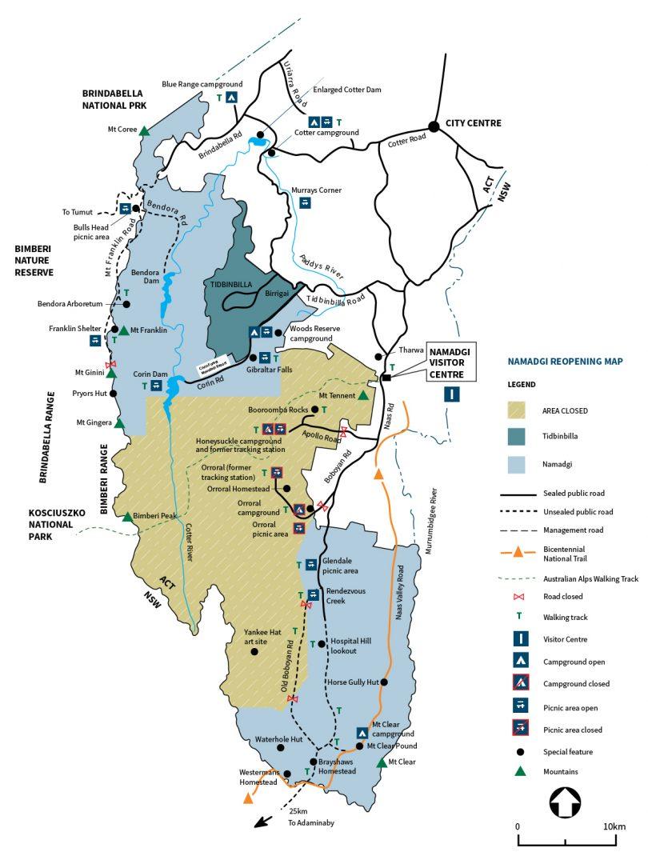 Map of Namadgi National Park