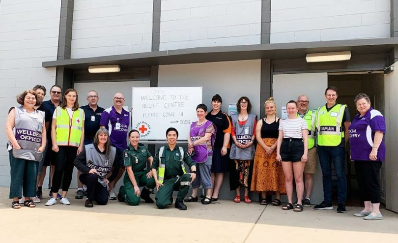 Volunteers outside the Dickson College bushfire relief centre.