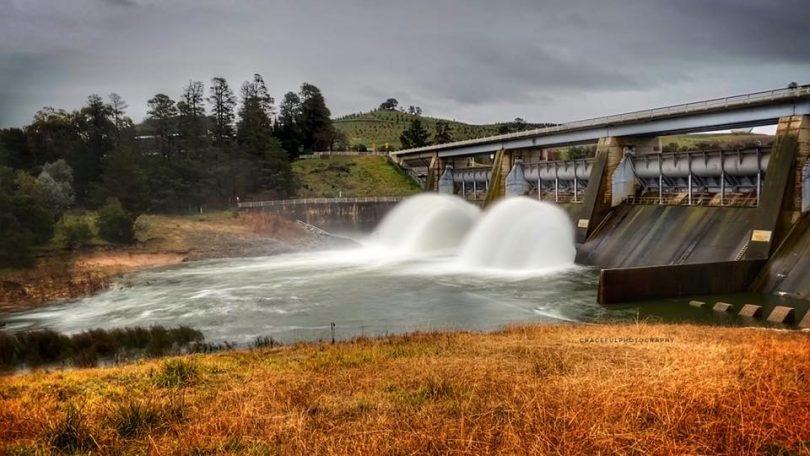 Overflow at Scrivener Dam on Sunday (26 July)