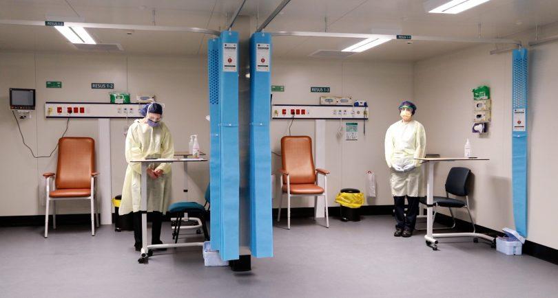 Medical staff inside COVID-19 Surge Centre.