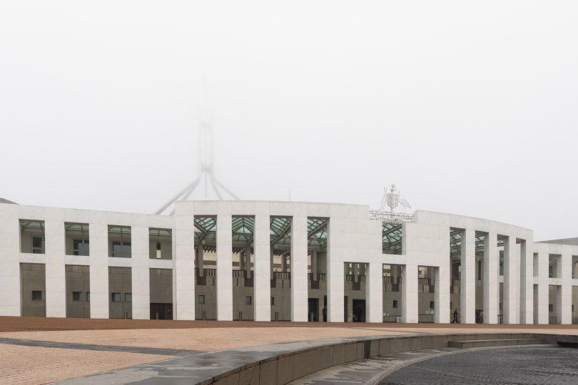 Parliament House in fog