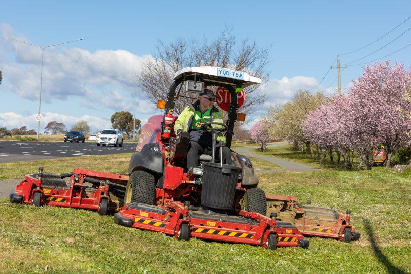 Gino Giucci on the job on his new Bayldon Ag mower